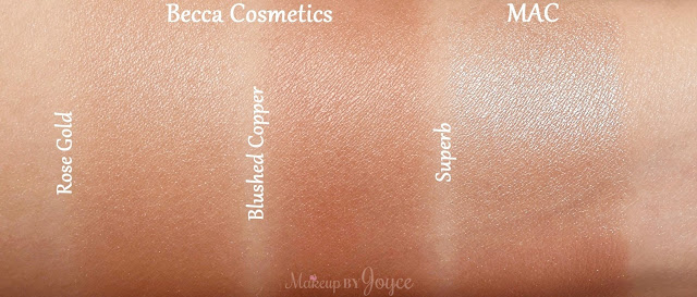 Becca Rose Gold vs Blushed Copper Highlighter Swatches
