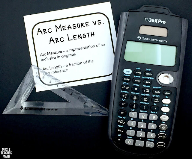 arc length and arc measure cheat sheet for interactive notebooks - free download