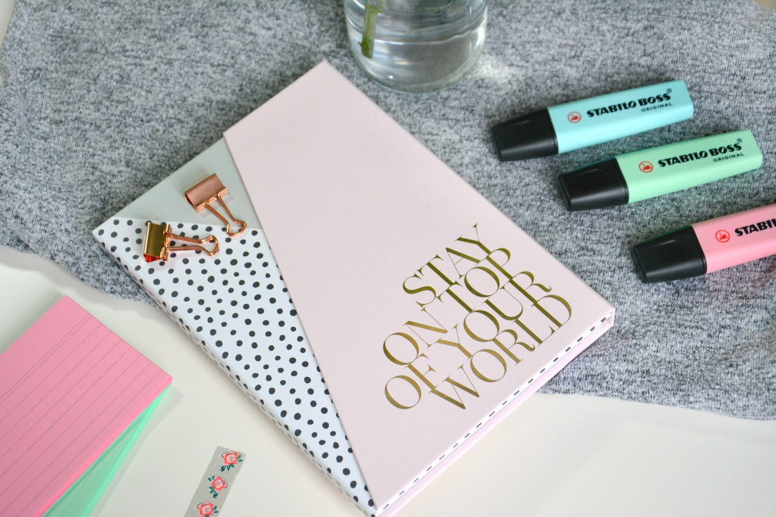 Washi Tape; Primark Rose Gold Clips; Zoella Stationary Book; Stabilo Pastel Highlighters
