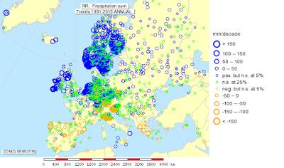 Carte de la tendance des pluies en Europe ces 50 dernières années avec schématiquement une hausse au Nord du 45°N et une baisse au Sud du 45°N.