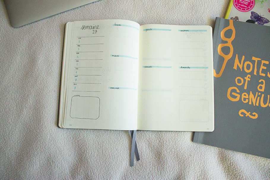 bullet journal juillet bujo weekly spread