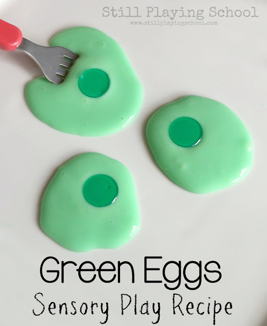 Kids will love to play with this sensory slime recipe for Green Eggs and Ham by Dr. Seuss!