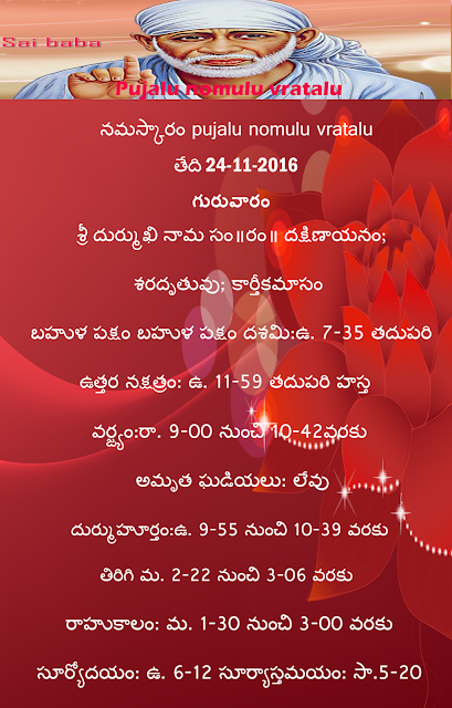 Today's Panchangam in Telugu ,rasiphalau