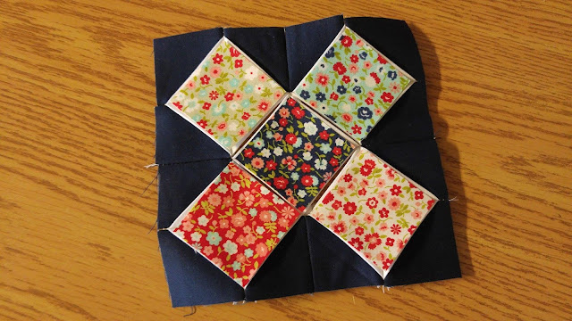 Bonnie and Camille Vintage Picnic cathedral window quilt