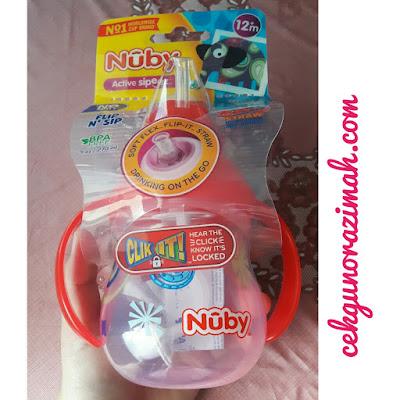 cawan nuby, review nuby, Nuby Clik-It Flip N' Sip Cup