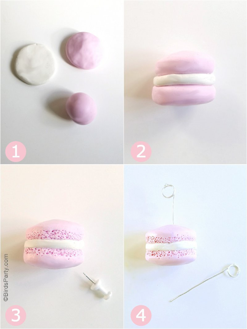 DIY Polymer Clay Macaron Place-Card Holders - a fun & easy craft to make with kids! These are perfect as hostess gifts or to embellish your party tables! by BirdsParty.com @birdsparty #kidscrafts #polymerclay #diymacaronsplacecardholders #placecardholders #macarons #diymacaronclay