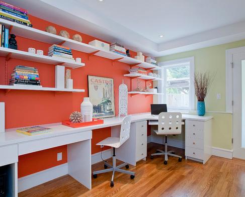 parede escritório laranja