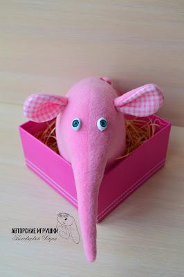 текстильная игрушка слон, купить игрушку слона, мягкая игрушка слон, игрушка розовый слон,