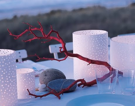 faux red coral branch centerpiece