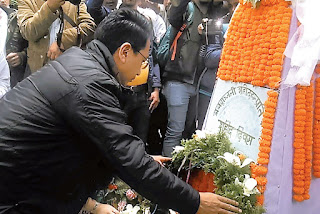 Mann Ghisingh pay homage to martyrs at Gorkha Rangmanch Bhavan and in front of the GNLF office Darjeeling