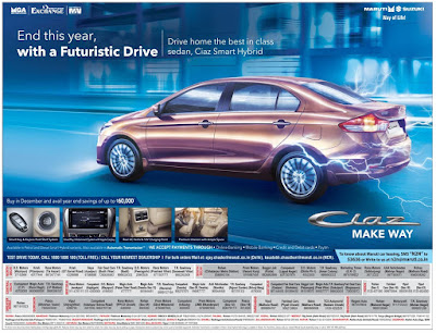 The best offer of the year - Maruthi Suzuki cars | December 2016 year end sale festival discount offers | zero (0) down payment | 100% on road funding christmas