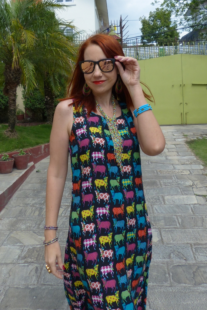 Colorful cows print summer dress