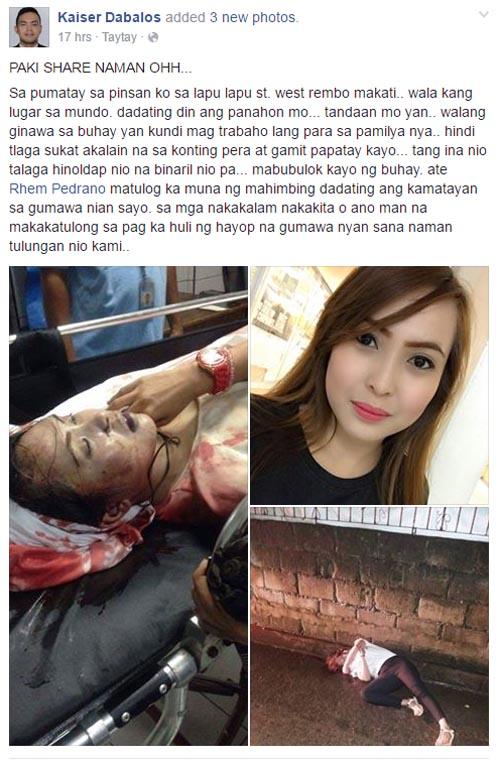 Kaiser Dabalos Facebook post on Rhem Pedrano death