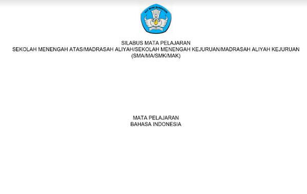 Silabus Bahasa Indonesia Kurikulum 2013 Revisi 2017 PDF