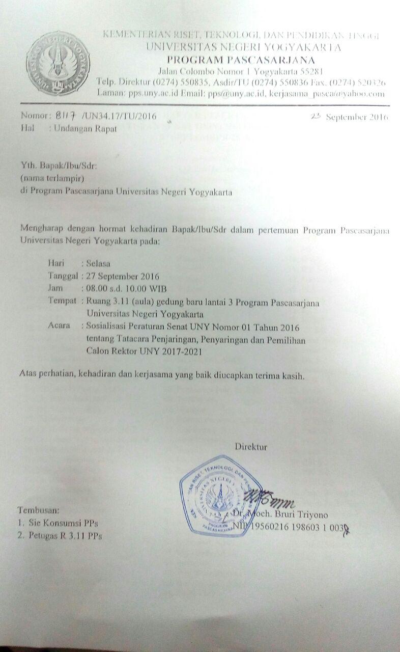Undangan Rapat Sosialisasi Peraturan Senat Kmp Uny