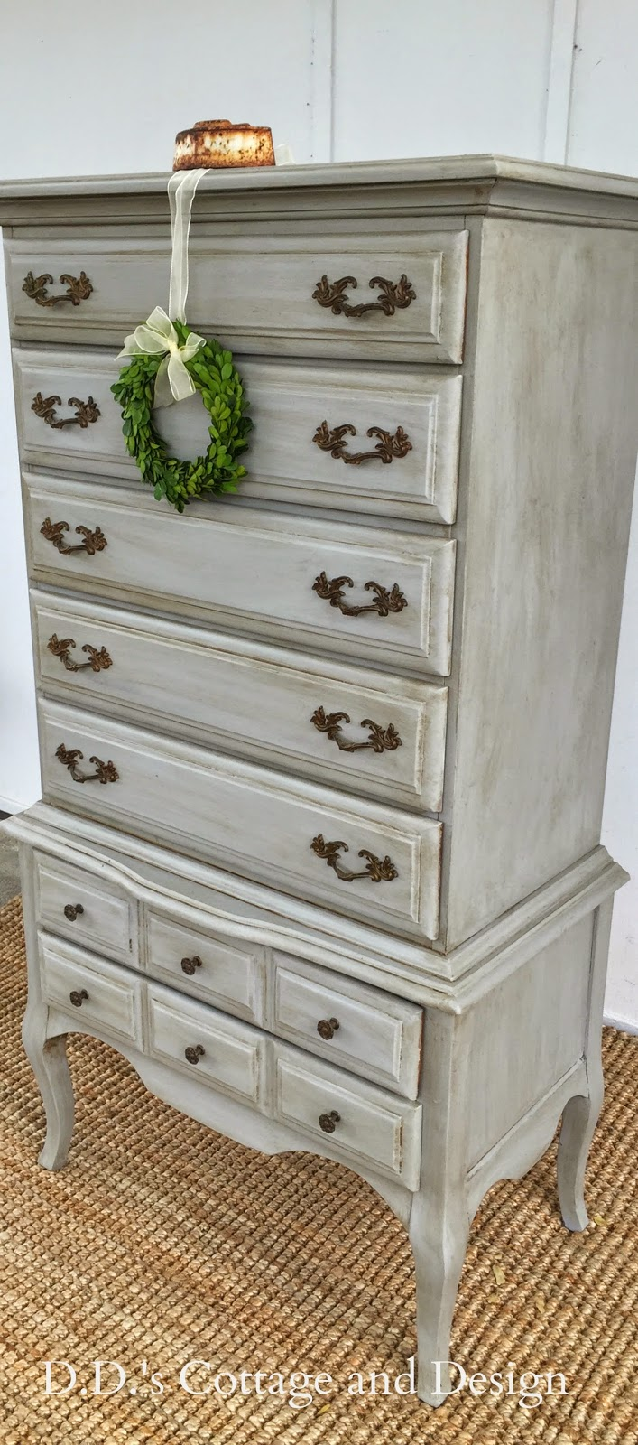d d 39 s cottage and design grey french provincial chest on chest. Black Bedroom Furniture Sets. Home Design Ideas