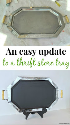 Add chalkboard paint to old thrift store trays