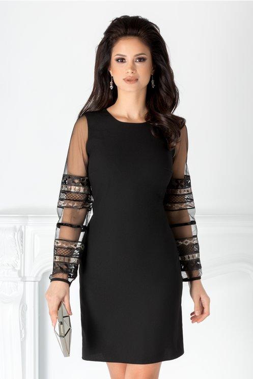 Rochie neagra eleganta  Maneci usor bufante  Broderie cu paiete si catifea