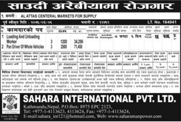 Jobs Vacancy For Nepali In Saudi Arabia, Salary -Rs.71,000/
