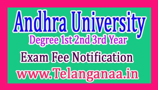 AU Degree 1st 2nd 3rd Year Exam Fee Notification 2017
