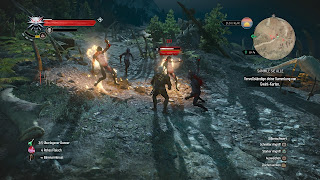 Geralt using Igni to make enemies burn.