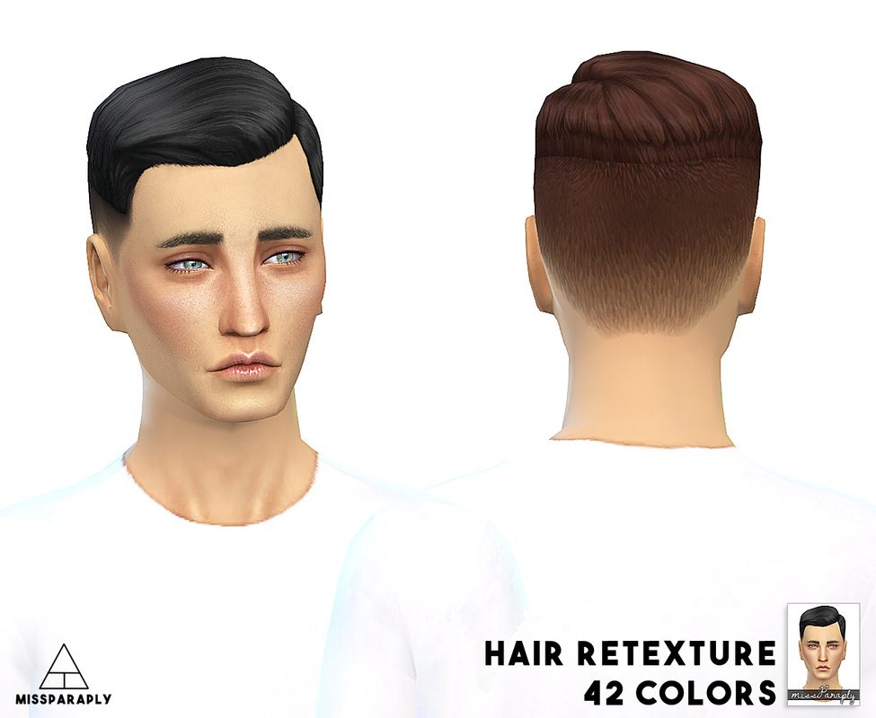 My Sims 4 Blog Ea Short Crew Cut Side Part Retexture By Missparaply