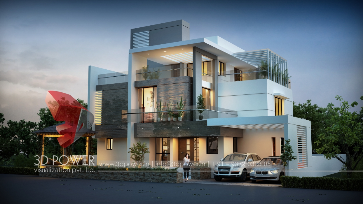 3d architectural villa rendering home design simple for Architecture simple house designs