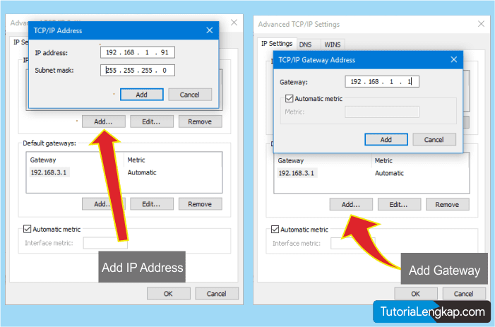 Cara Menambah IP Address dan Gateway pada WIndows