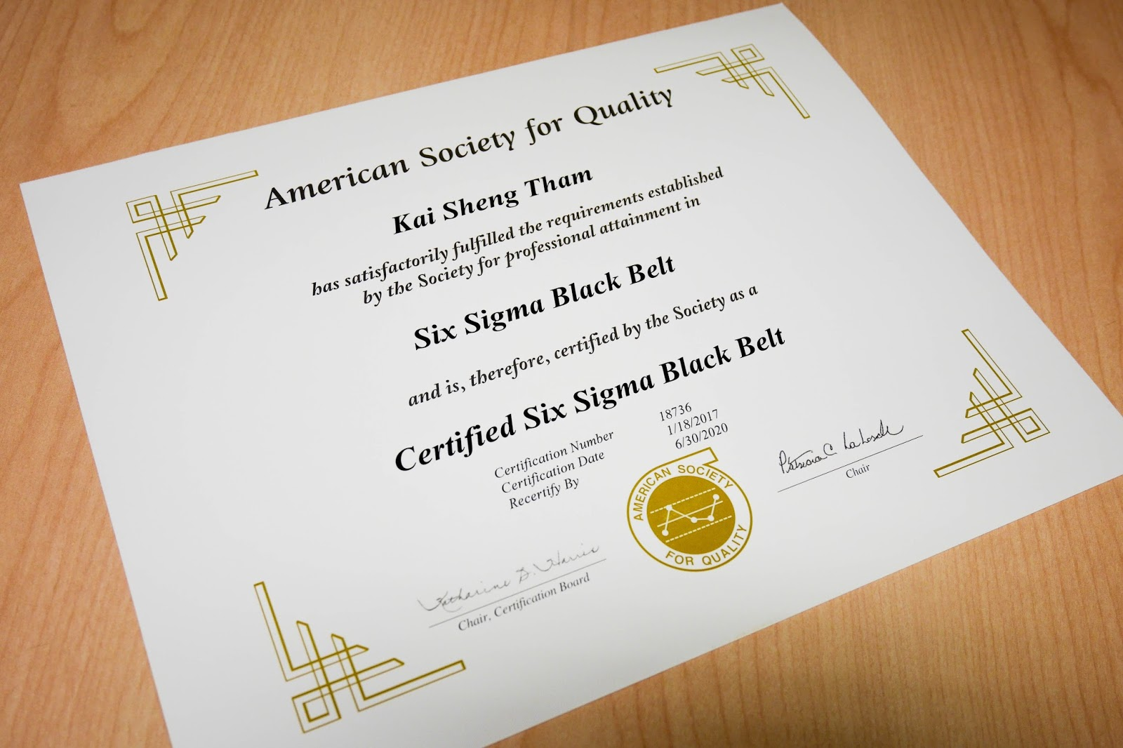 Certified Six Sigma Black Belt Cssbb Javin Tham