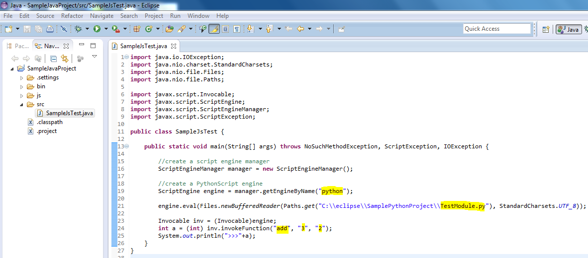 Java - Call python script functions from java code