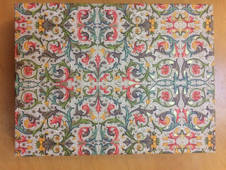 Box of stationery covered with Florentine paper with leafy scrollwork