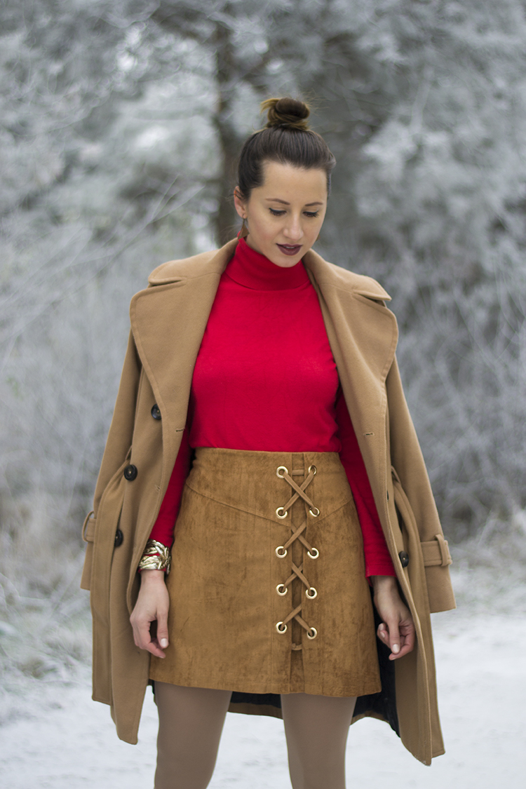 camel suede lace up a line skirt