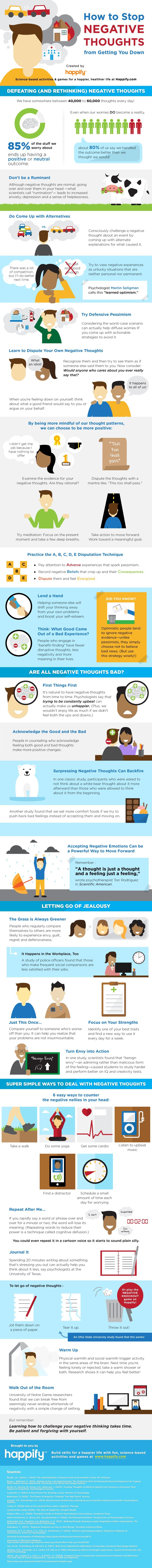How To Stop Negative Thoughts From Getting You Down - #infographic