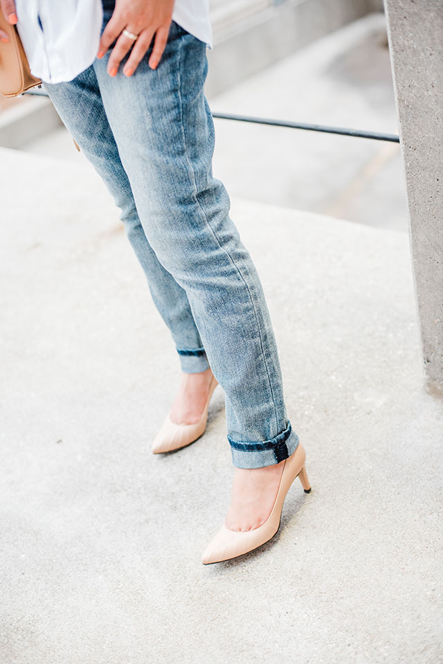Boyfriend Jeans-White Button Up Shirt-Haute Hijab-Nude Heels-Rebecca Minkoff Mini Mag-Fashion Blogger-Modest Fashion-Kendra Scott Necklace