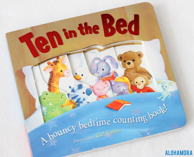 Ten in Bed illustrated by Gill Guile gets 4.5/5 stars in my book review of this baby counting concept board book. is fun for kids with the page cut outs, repetitious text, and the fun animals.  great baby or birthday gift.  Alohamora Open a Book http://alohamoraopenabook.blogspot.com/ Myrick Marketing