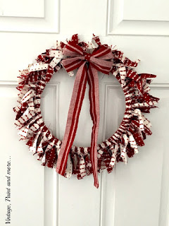 Vintage Paint and more... Valentine Wreath made with fabric rag strips and a wood hoop