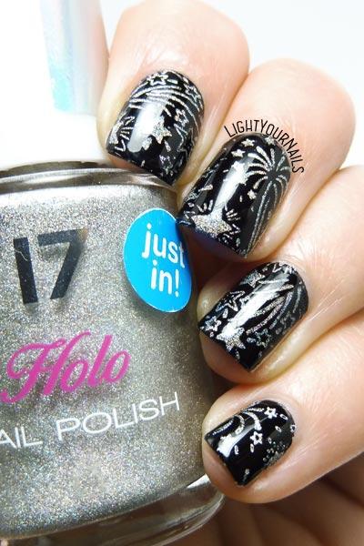 Fireworks stamping nail art fuochi d'artificio plate bp184 #bornprettystore #nailart #lightyournails #unghie