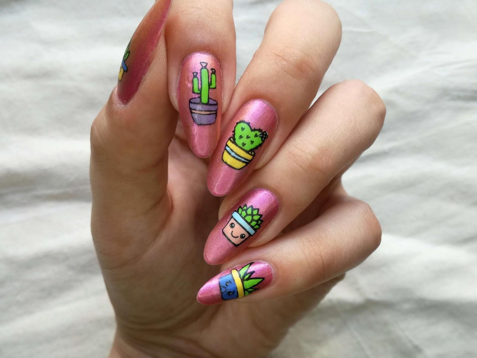 paznokcie w kaktusy na różowym