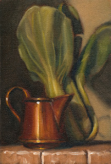 Oil painting of a small copper jug beside a bok choy cluster.