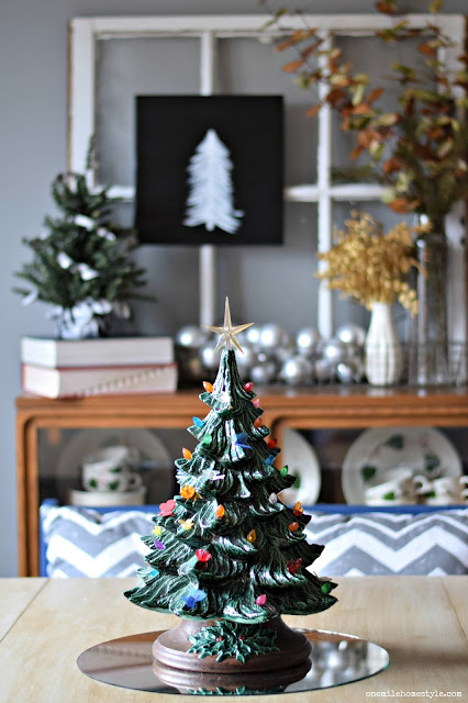 Simple Christmas centerpiece with a vintage light-up ceramic Christmas tree