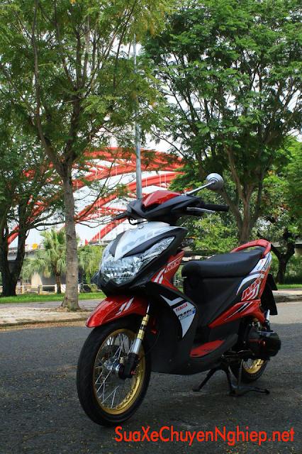 Sơn xe Mio 125 trắng đỏ đen cực đẹp