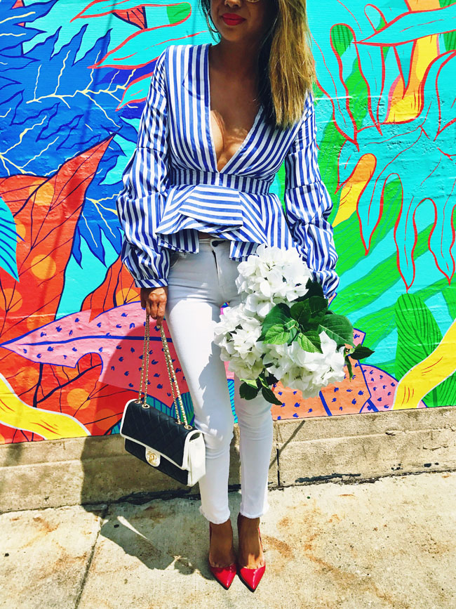 Chicago Murals, Blue Striped Peplum Top, Where to Take Photos in Chicago, Wicker Park Mural, How to Style a Striped Top
