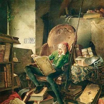 "Adolf Schrödter, ""Don Quijote en la biblioteca"""