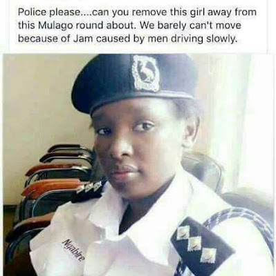 Lol... Male motorists in Uganda demand removal of pretty traffic warden from a road, say she is a distraction