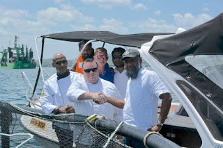 Jagath Ravindra Liyanage, Chef De Cuisine, Galle Face Hotel; Adam Gaunt Evans, Executive Chef, Galle Face Hotel; Irfan Thassim, Founder/Director, Oceanpick during a visit to the Round Island Barramundi farm in Trincomalee