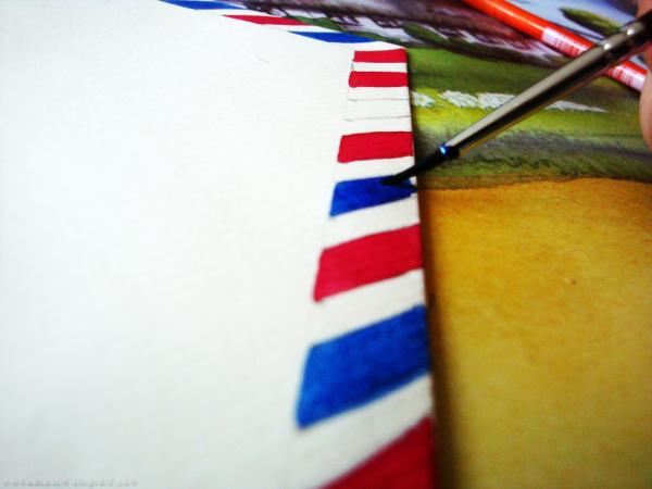Pintar con rojo y azul, los colores del correo postal aéreo.