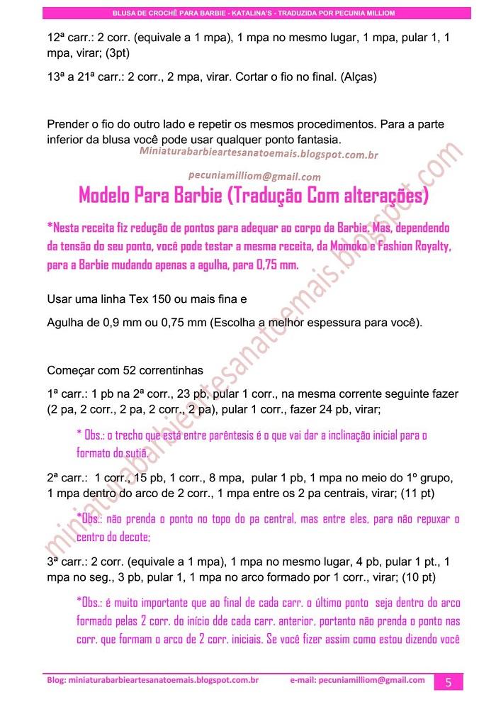 Blusa de Crochê para Barbie, Momoko e Fashion Royalty passo a passo (pap)