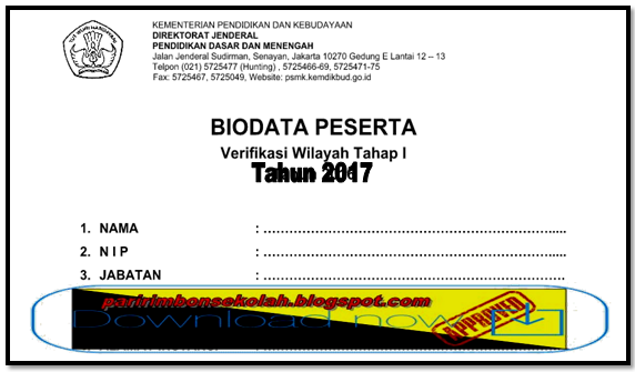 FORMAT BIODATA PESERTA VERIFIKASI WILAYAH JENJANG SMA/SMK