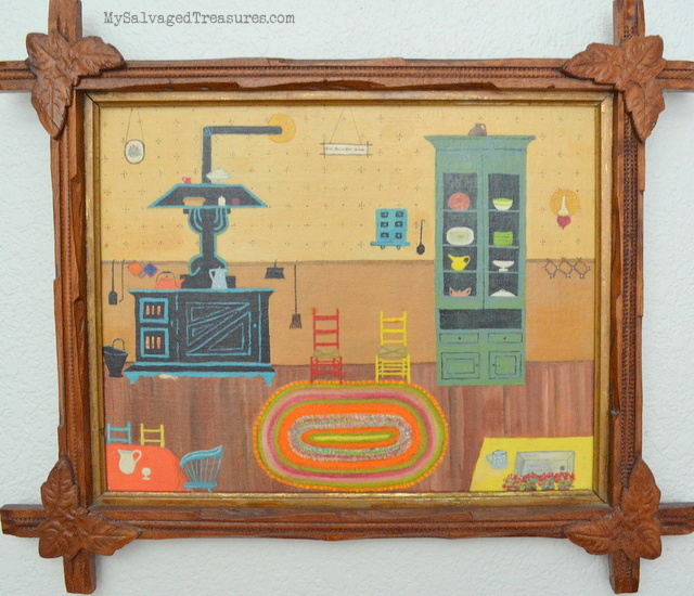 home sweet home oil painting vintage kitchen