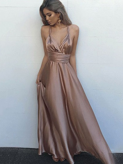 Silk-like Satin V-neck A-line Ankle-length with Ruffles Prom Dresses